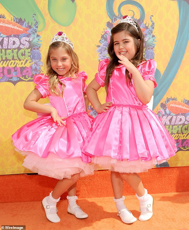 All grown up! Sophia Grace and Rosie star McClelland (left) doesn't look like this anymore... as the 14-year-old makes a rare TV appearance after rising to fame on the Ellen DeGeneres Show. Pictured in LA in 2014