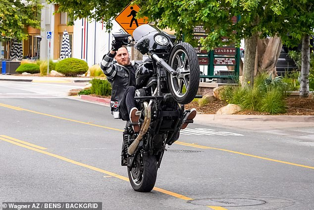 Born to be wild:Chet Hanks, 30, on Thursday took to show off some risky moves he made on the road in Malibu, California