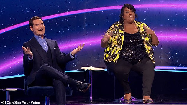 Playful: In the same episode, Alison Hammond also joked Jimmy Carr fancies her while on the panel as she playfully scolded the comedian forinterrupting her