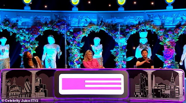 Guessing game: The stunning broadcaster, 26, team captain Emily Atack, 31, and guest Joe Swash, 39, were tasked with guessing which sexy word the other was acting out