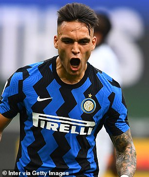 Lautaro Martinez (pictured) and Andre Silva are also on Guardiola's four-man striker shortlist