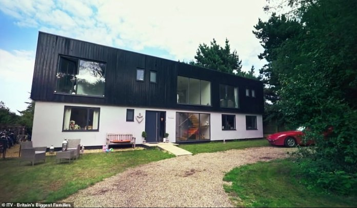 The documentary saw £ 800 spent on school uniforms and the couple spent £ 30,000 on electrical appliances for the family.  Pictured is their family home in Suffolk