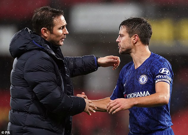 Azpilicueta (right) was benched by Frank Lampard (left) when Chelsea last lost to the Foxes