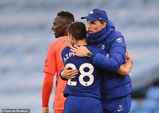 Azpilicueta is now an integral part of Thomas Tuchel's (right) reborn Chelsea side this season