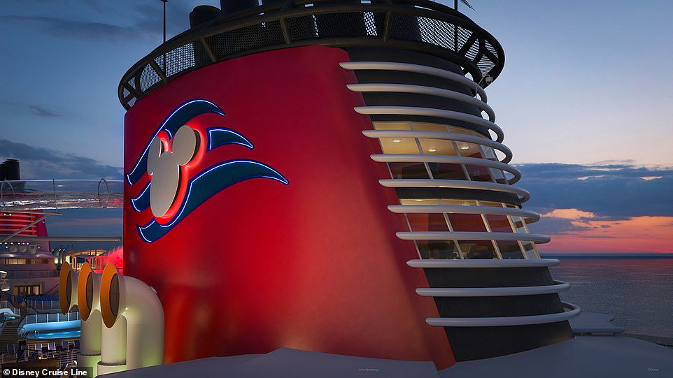 When the Disney Wish cruise ship launches in 2022, it will feature a 'first of its kind' penthouse located in the forward funnel – the Wish Tower Suite (shown in the rendering above)