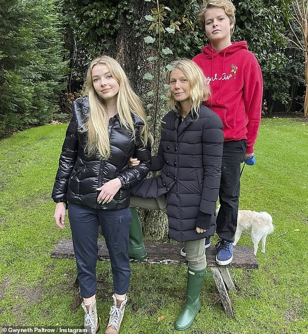 Happy family:Last month Gwyneth wished a happy 15th birthday to her son Moses, who she described as her 'little shredder' in a sweet social media post