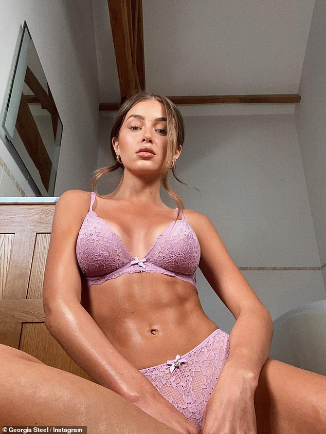 Ab fab!Georgia, 23, displayed her washboard abs in the pink lace Mollie un-padded plunge bra with a pair of matching underwear