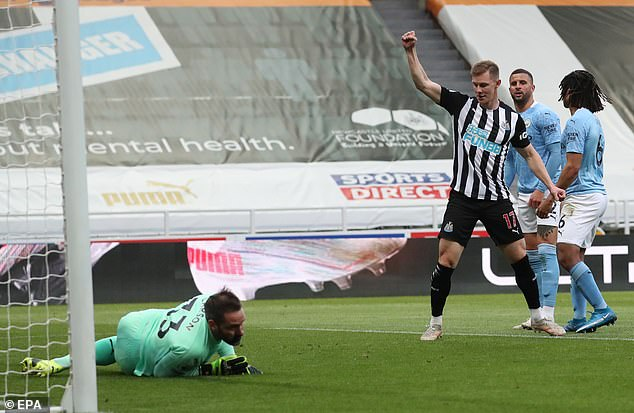 Carson did not make a save in the first half but had conceded two goals to Newcastle United
