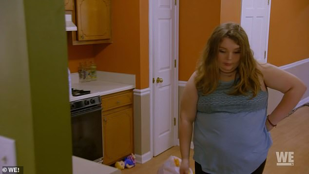 Caught red-handed: But Alana catches her when she walks into the kitchen and thinks she's a hypocrite, though Pumpkin knows she's just hungry because of stress and her pregnancy