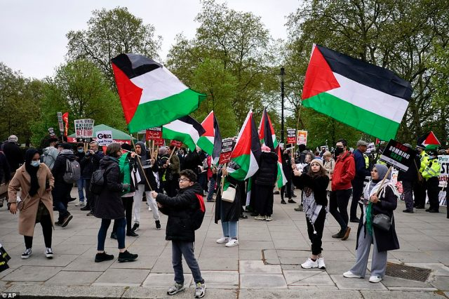Demonstrators gathered near Marble Arch before marching through Hyde Park to the Israeli embassy