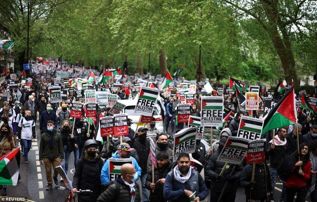 Organisers claimed around 150,000 descended on central London for the solidarity march on Saturday