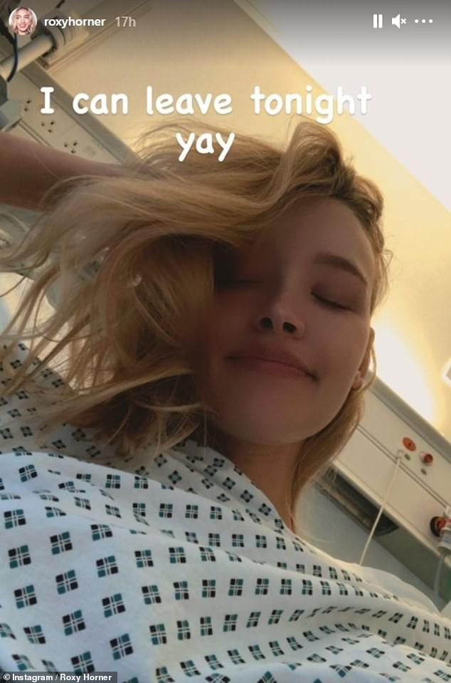 Health scare: Roxy was taken to hospital last month and has updated fans on her journey after her diagnosis