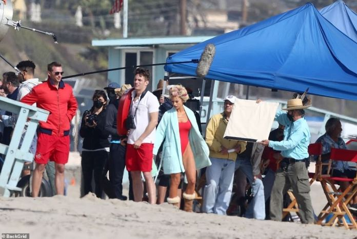 Full Production: Over the past few days, the cast and crew have been stationed on Malibu Beach to document the Baywatch chapter of Pam's life.