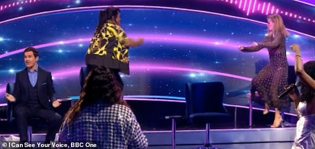 Entertaining: Amanda Holden and Alison Hammond didn't fail to put on a show as they did the Running Man in unison on I Can See Your Voice on Saturday night