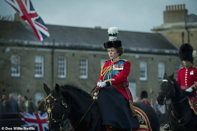 Ms Colman, 47, showed a little more poise in her previous role as the Queen in The Crown, when she was seen riding at the Trooping the Colour