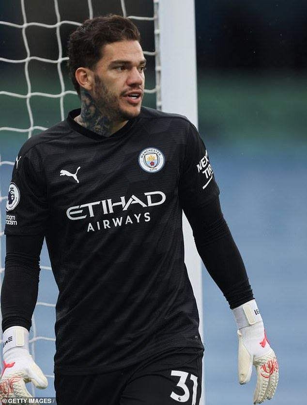 'Do you want to come and get in the net with me and me dad?': Then they moved onto the Man City goalkeeperEderson Santana de Moraes (pictured)