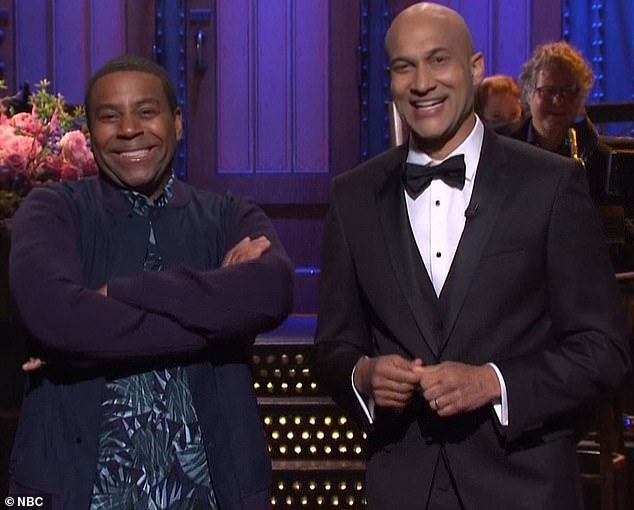 'Ears burning':When Keegan was asked his favorite cast member Kenan Thompson arrived on the scene and planted himself next to the host