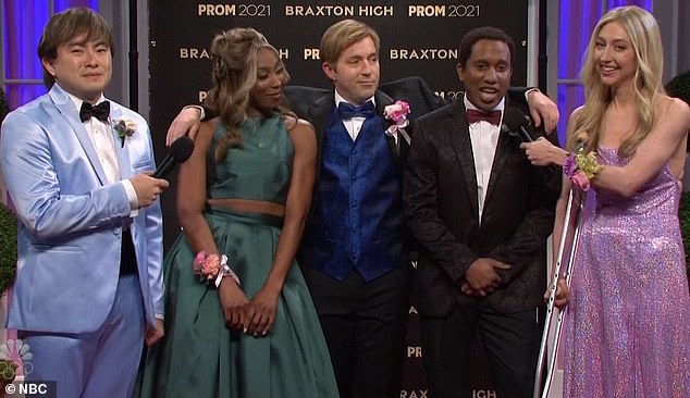 There they are:A group of popular kids shared the evening they enjoyed before arriving at prom including posing 'in front of my stepmom¿s huge TV' with a fireplace screen