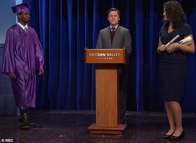 Big day:The last sketch was about a college commencement ceremony where families were asked to hold their applause until every student was done walking