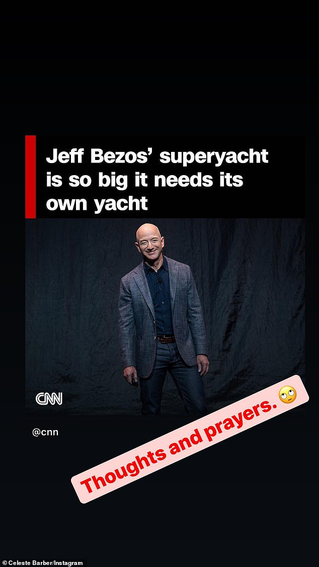 Puch:The comedian, 38, shared an Instagram Stories post featuring the CNN headline 'Jeff Bezos' superyacht is so big it needs its own yacht'. Beneath the headline, which featured a picture of Amazon CEO Jeff Bezos Celeste wrote: 'Thoughts and prayers'