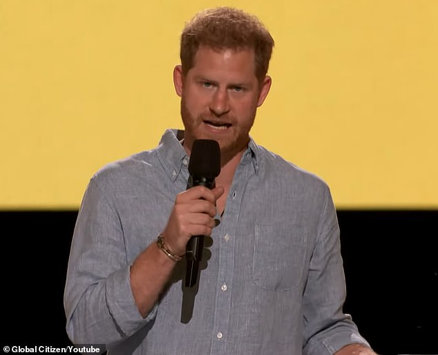 Prince Harry speaks at the Global Citizen: VAX Live concert on May 8, 2021