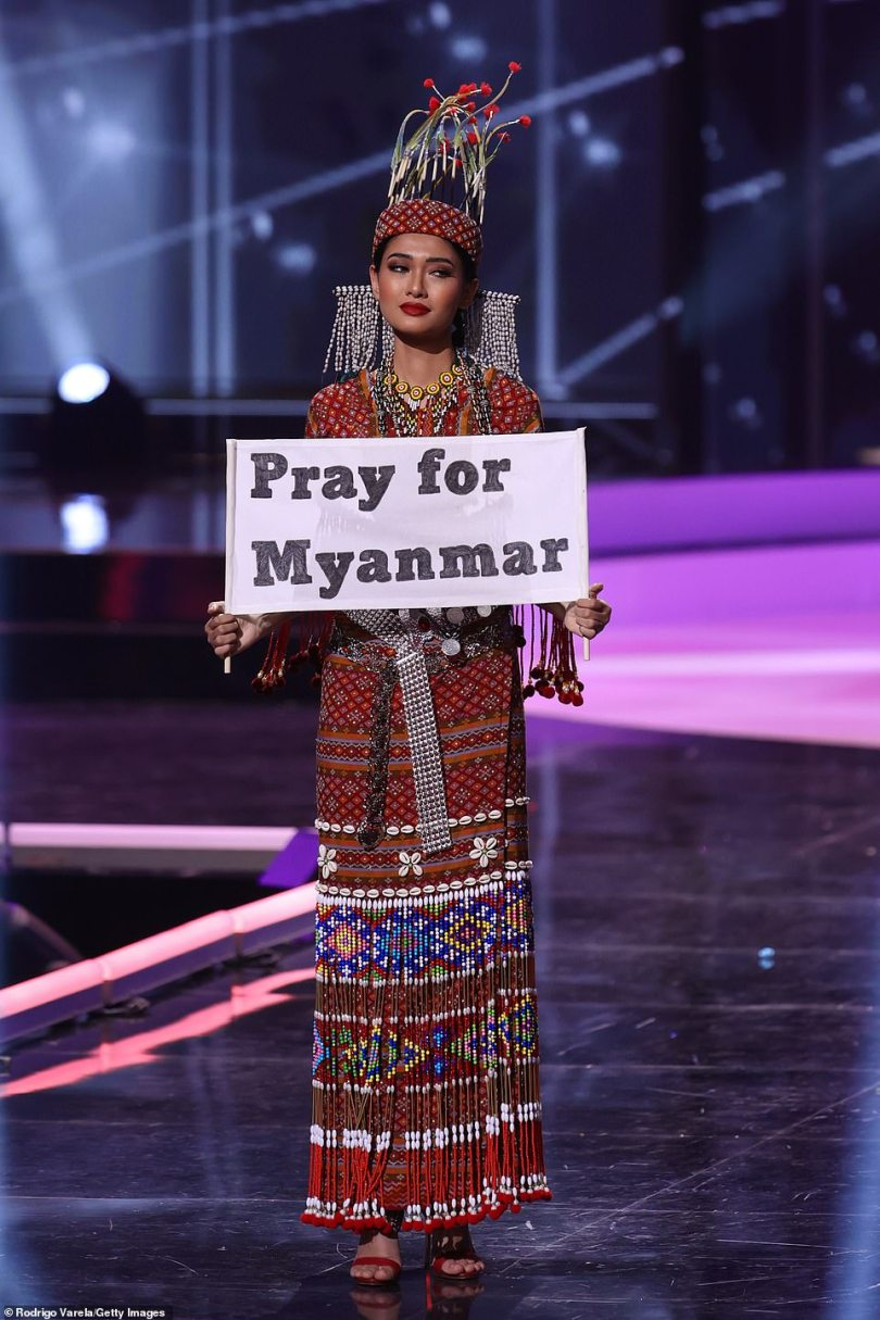 Plea: Myanmar's Thuzar Wint Lwin literally held a sign up asking for 'Prayers for Myanmar' in reaction to the unrest in the Asian nation since the military carried out a putsch on February 1