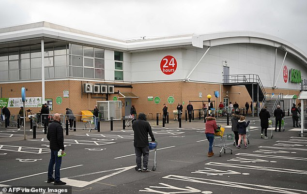 During the Covid restrictions, this often led to long lines outside supermarkets.  Pictured: The queue of shoppers using social distancing outside an Asda supermarket in Gateshead, north-east England