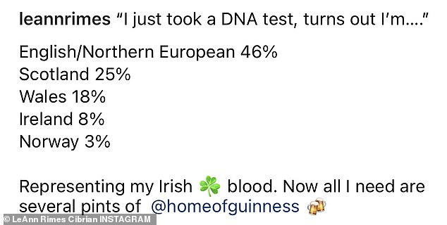 The breakdown:'I just took a DNA test, turns out I'm…. English/Northern European 46%, Scotland 25%, Wales 18%, Ireland 8%, Norway 3%,' she shared