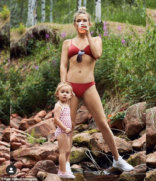 Proud parent: Hudson welcomed her youngest child in 2018 and she is often featured in her various social media posts