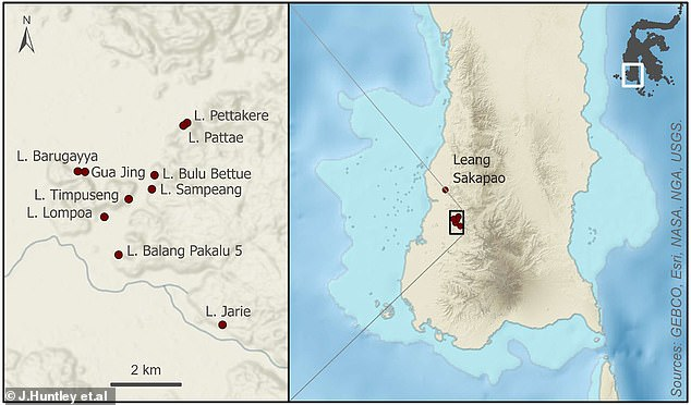 More than 300 painted sites have discovered in limestone caves in southern Sulawesi, Indonesia (above). In almost every site, 'the rock art is in an advanced stage of decay,' researchers say