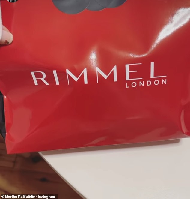 Makeup galore: Martha, who has just filmed a stint on Celebrity Apprentice Australia that will soon air on TV, also got sent a Rimmel London package