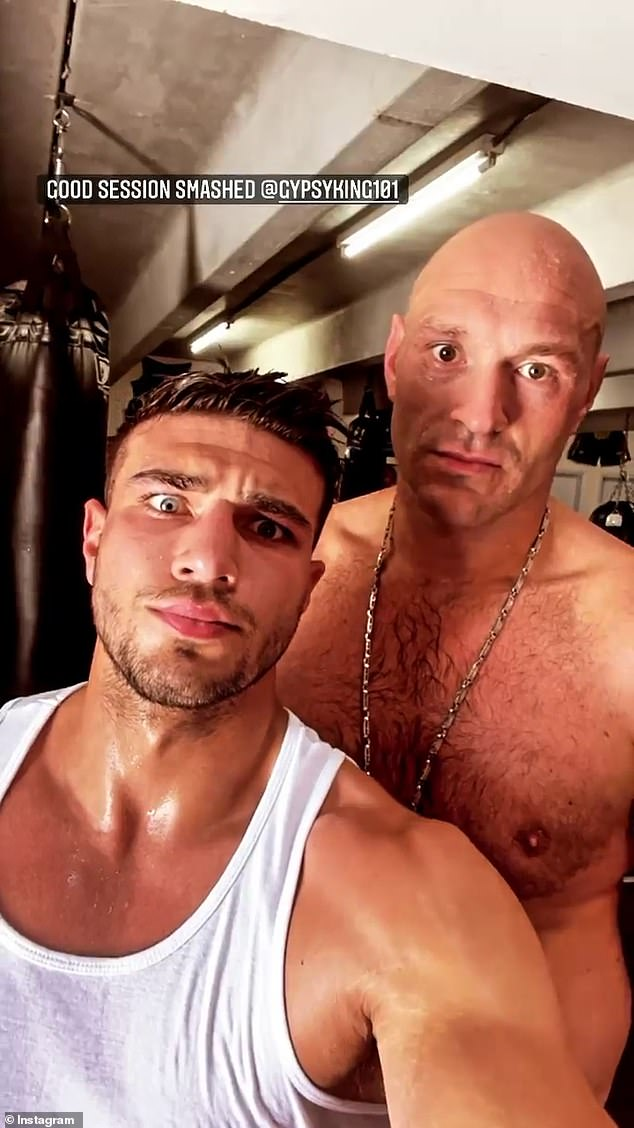 Hard at it:Tyson has been busy training in the states with younger brother Tommy Fury, 22