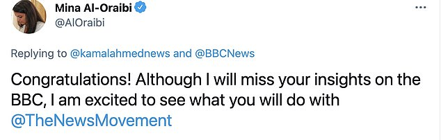 Following news of his departure today, the BBC responded on Twitter: 'Goodbye and good luck Kamal!'