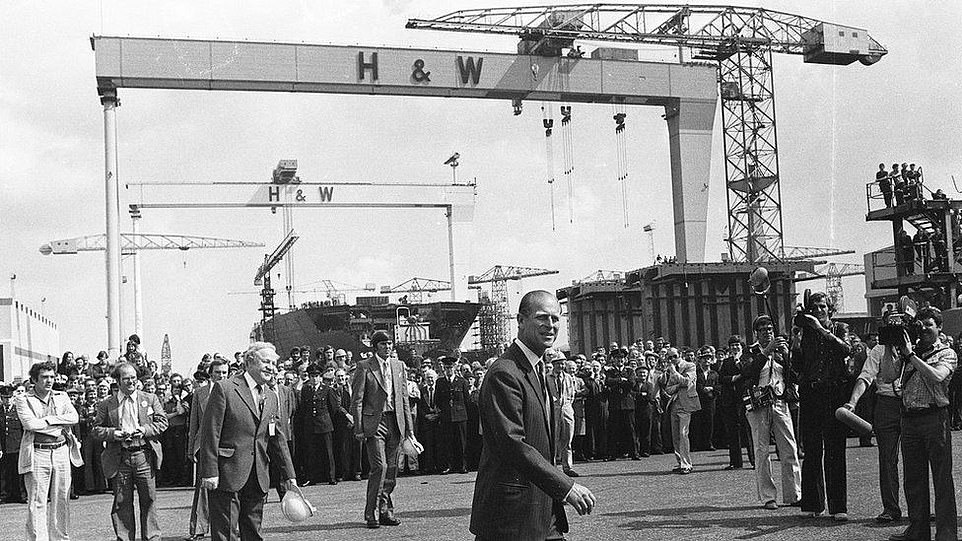 The Duke of Edinburgh visited the Harland & Wolff shipyard in 1977 during his Silver Jubilee trip to Northern Ireland with the Queen (pictured)