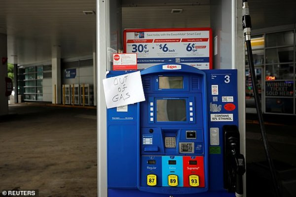 Exxon Station in Washington, DC is seen running out of gas in May after a cyberattack has neutralized the country's largest fuel pipeline