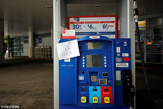 An Exxon station in DC is seen out of gas after the cyberattack crippled the biggest fuel pipeline in the country. On Tuesday, 70% of DC gas stations were still dry