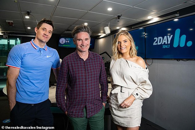 Making changes: 2Day FM has announced a key reshuffle just six months after launching a new breakfast show hosted by Erin Molan (right), Ed Kavalee (left) and Dave Hughes (centre)