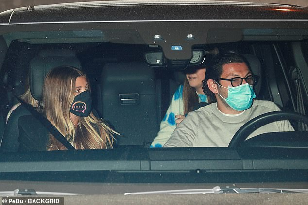 Home sweet home: After the dinner, Elliot was seen driving Sofia and a group of friends away from the restaurant