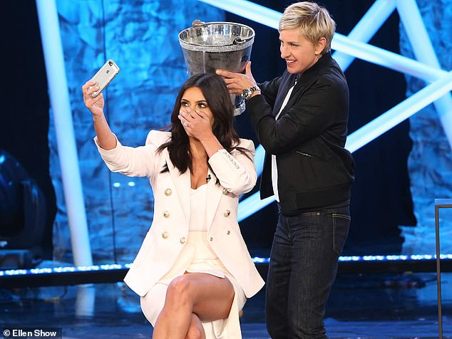 Her goodbye:'This show has been the greatest experience of my life, and I owe it all to you. So, thank you,' said Ellen; seen with Kim Kardashian during the ALS Ice Bucket Challenge
