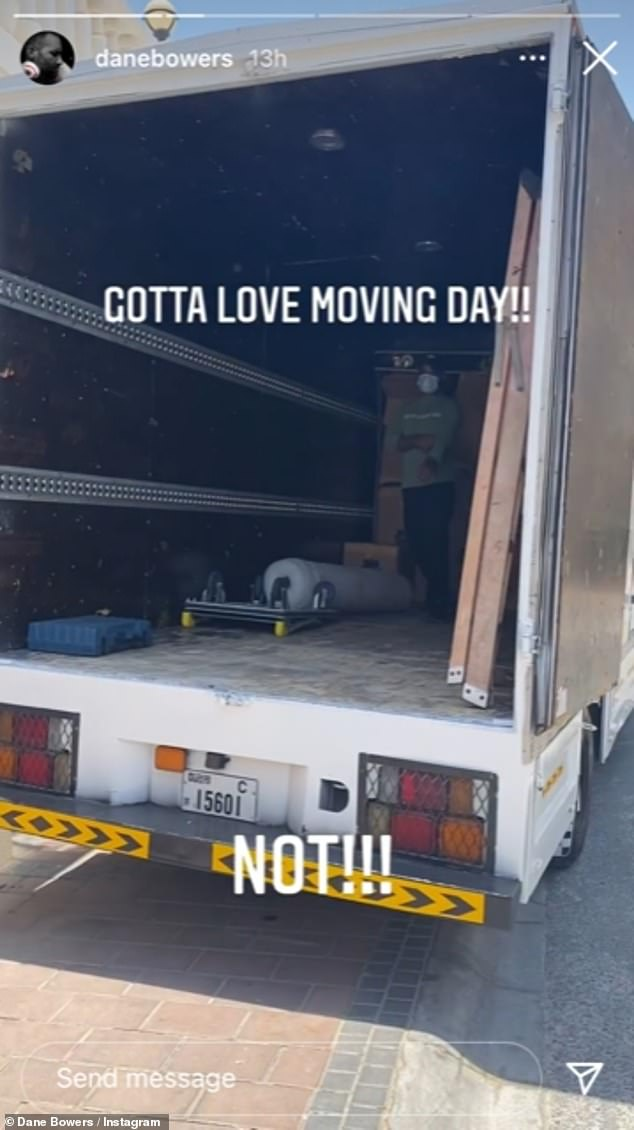 Stressful: Over on Dane's page, the singer documented his moving process as he wrote: 'Gotta love moving day!! Not!!!'