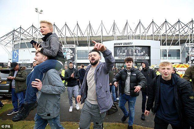 Fans gathered outside Pride Park relieved that their club avoided relegation to League One