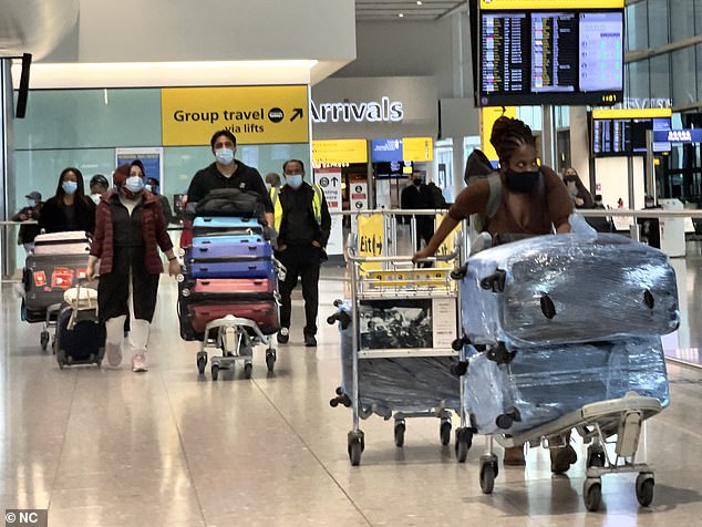Asked why holidays were still being sold to countries on the amber list, Mr Shapps said the Government had moved away from a system where things were 'banned and illegal' to a situation where people were expected to 'apply a bit of common sense'. Pictured: Heathrow today