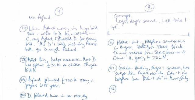 These bombshell handwritten notes by Earl Spencer were published today, which led to Bashir's lies being exposed
