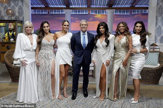 Let's go girls!Part two of the Real Housewives Of New Jersey reunion aired Wednesday; seen second from right with (l-r) Margaret Josephs, Melissa Gorga, Jackie Goldschneider, Andy Cohen, Teresa Giudice, and Jennifer Aydin