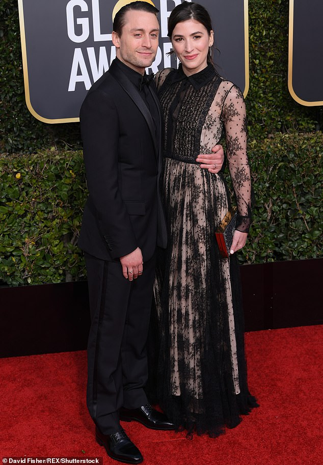 Hot couple:Kieran, 38, who is the younger brother of former child star Macaulay Culkin, has been married to Jazz since 2013; pictured at the 2019 Golden Globes