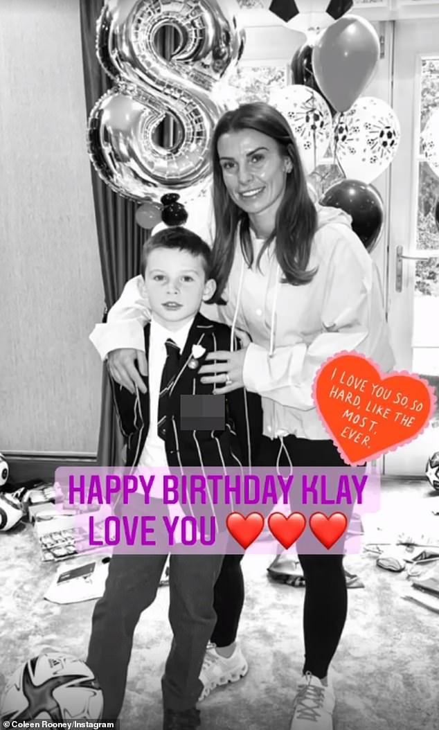 How lovely: Coleen and husband Wayne Rooney, both aged 35, took to Instagram to post a collection of sweet photos to mark their second eldest son's milestone