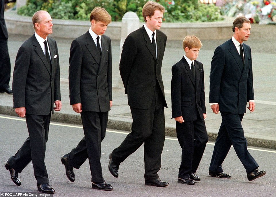 Buckingham Palace and Clarence House were last night retaining what sources described as a ¿dignified silence¿ on the claims. Pictured: Prince Philip, Prince William, Earl Spencer, Prince Harry and Prince Charles walk behind Diana's coffin for her funeral in 1997