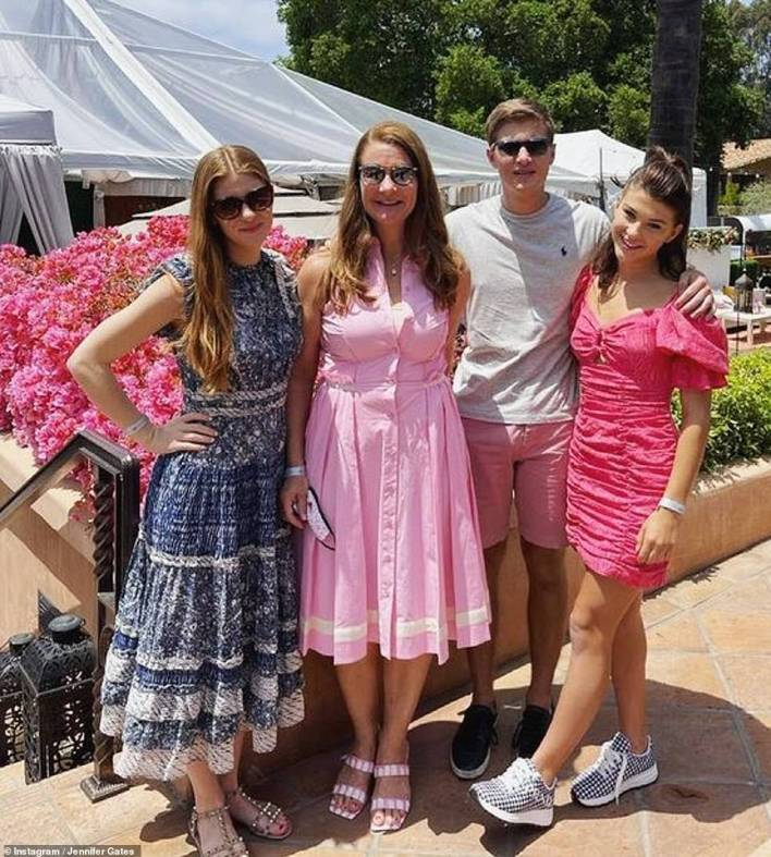 Mom: Jennhad also posted days earlier for Mother's Day, sharing a photo with her mom and siblings. 'Our queen, hero and mom- every day,' she wrote