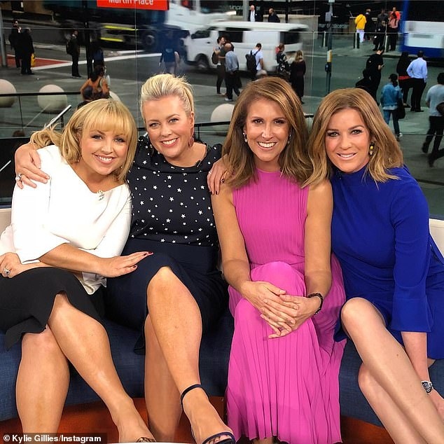 In good company: In February 2014, she was announced as co-host of Weekend Sunrise after previously filling in for former host Samantha Armytage (second left). Pictured withNatalie Barr (second right) andKylie Gillies (far right)