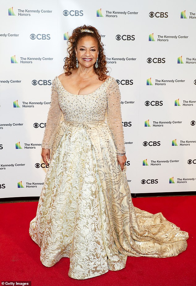 Royalty:Debbie Allen, who starred on the series Fame and is the younger sister of Phylicia Rashad, looked like a queen in a cream-colored dress covered in swirling floral designs